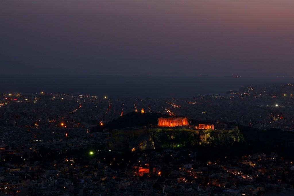 Vue sur l'Acropole de nuit