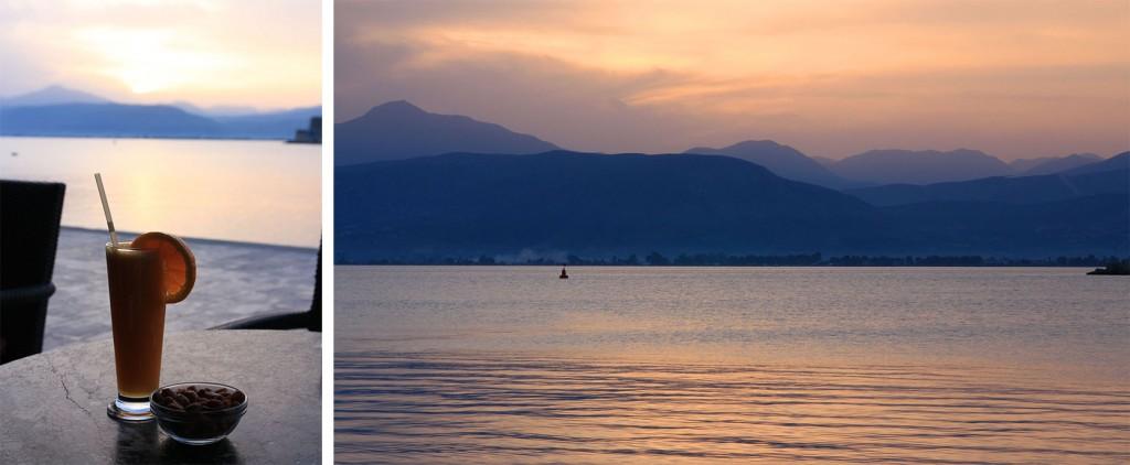 Coucher de soleil sur le port de Nauplie en Grèce
