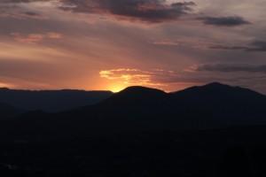Coucher de soleil sur les Météores en Grèce