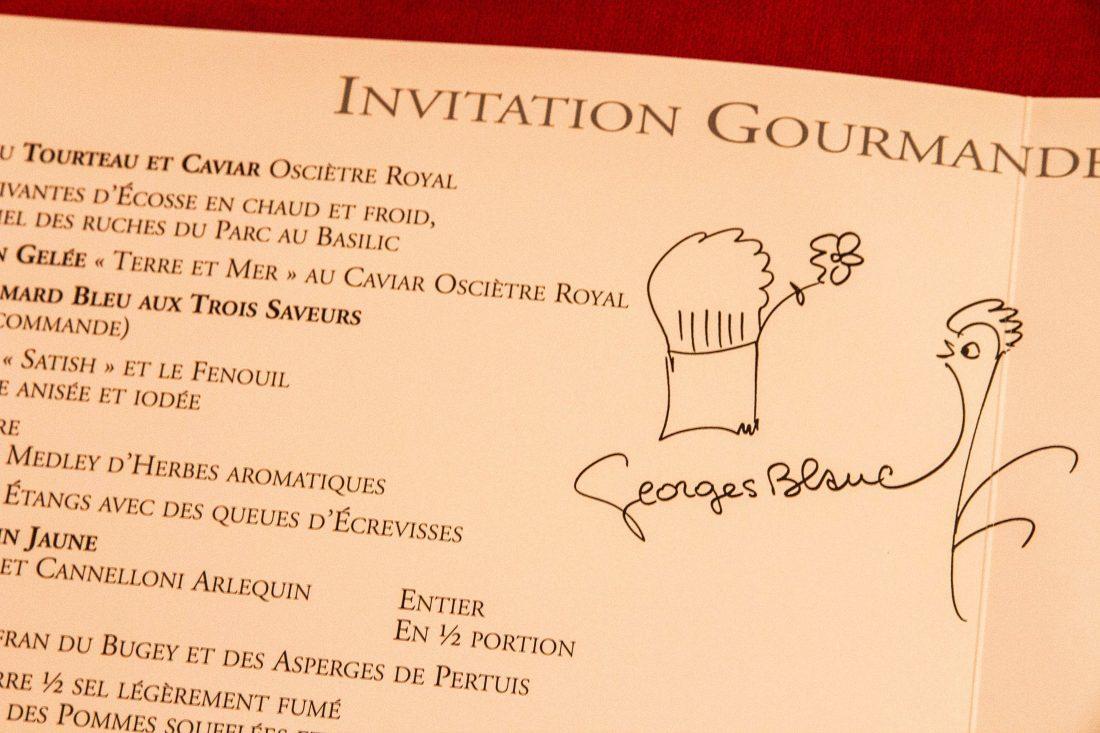 Carte du restaurant Georges Blanc