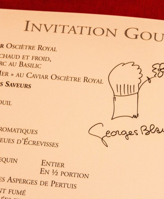 Carte du restaurant Georges Blanc